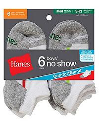Hanes ComfortBlend® Boys' No Show Socks 6-Pack