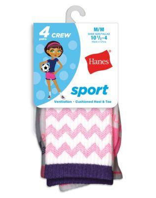 Hanes Girls' Sport Crew Socks 4-Pack