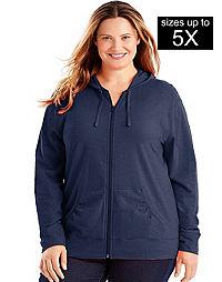 Just My Size Slub-Cotton Full-Zip Lightweight Women's Hoodie