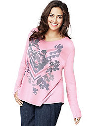 Just My Size Long-Sleeve V-Neck Women's Graphic Tee