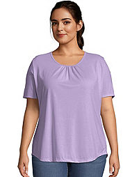 Just My Size Shirred Scoop-Neck Women's Jersey Tee