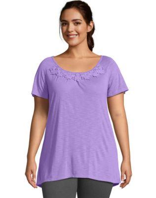 Just My Size Short-Sleeve Slub-Jersey Women's Tunic with Crochet Trim
