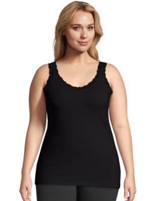 Just My Size Stretch-Cotton Lace-Trim Women's Camisole