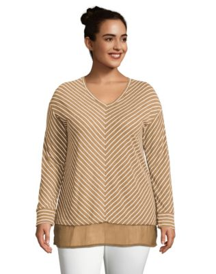 Just My Size Ultra-Light V-Neck Women's Tunic with Chiffon Hem