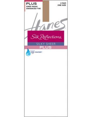 Hanes Silk Reflections Plus Knee Highs Enhanced Toe