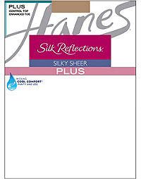 Hanes Silk Reflections Plus Control Top, Enhanced Toe Pantyhose 3-Pack