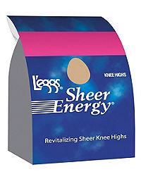 L'eggs  Sheer Energy Knee Highs, Reinforced Toe 5-Pack