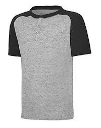 Hanes X-Temp® Boys' Raglan Henley Short-Sleeve T-Shirt