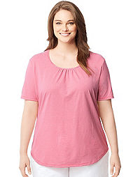 Just My Size by Hanes Shirred & Striped Scoop-Neck Women's Jersey Tee