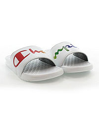 Champion Life™ Women's Super Slides Rainbow Split Script, White