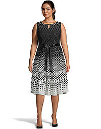 Bar Neckline Sleeveless Polka Dot Dress