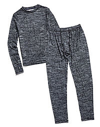 f5b0f6a3 Climate Essentials by Cuddl Duds Boys' Essential Poly Thermals Set.  GreySpaceDye Color ...