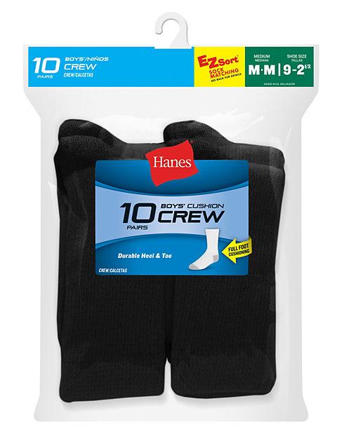 91eb85af9b9 Hanes Boys  Crew EZ Sort® Socks 10-Pack