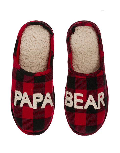 Dearfoams Men's Papa Bear Plaid Clog Slipper