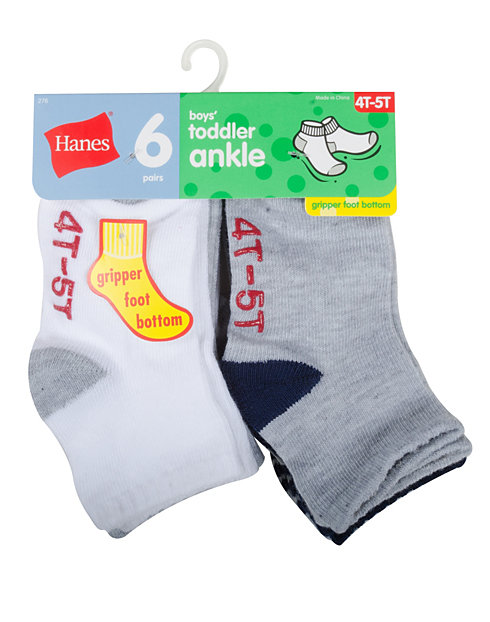 Hanes Toddler Boys' Ankle Socks 6-Pack