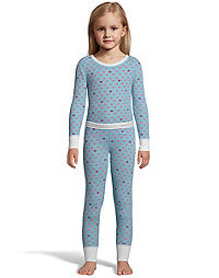Hanes X-Temp™ Girls' Organic Cotton Printed Thermal  Set