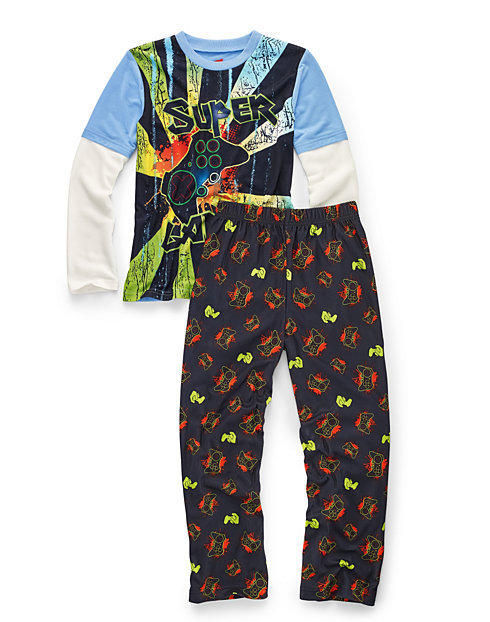 Hanes Boys' Sleepwear 2-Piece Set, Super Gamer Print