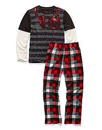 Hanes Boys' Sleepwear 2-Piece Set, Headphones Print