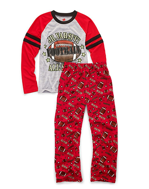 Hanes Boys' Sleepwear 2-Piece Set, JV All-Star Print
