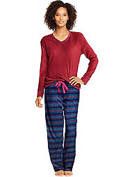Hanes Women's Micropolar Fleece Long Sleeve V-Neck Tee & Pants Sleep Set