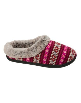 Dearfoams Women's Sweater Knit Clog Slipper with Memory Foam