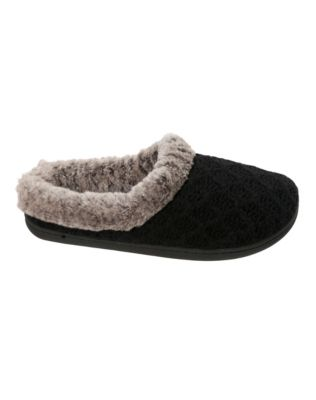 Dearfoams Women's Sweater Knit Clog Slipper with Frosted Pile Cuff