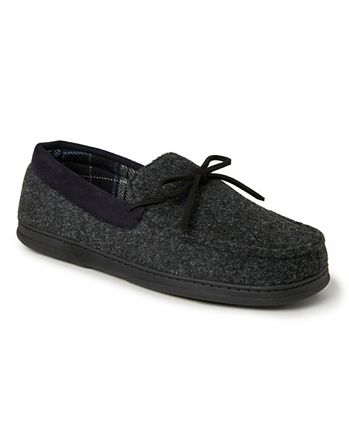 Dearfoams Men's Moccasin with Plaid Lining