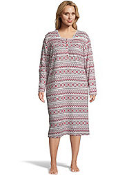 Hanes Plus Butter Knit Women's Long Sleep Gown
