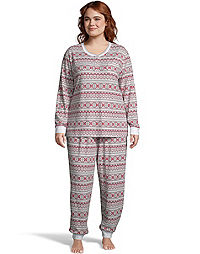 Hanes Plus Women's Butter Knit Jogger Sleep Set