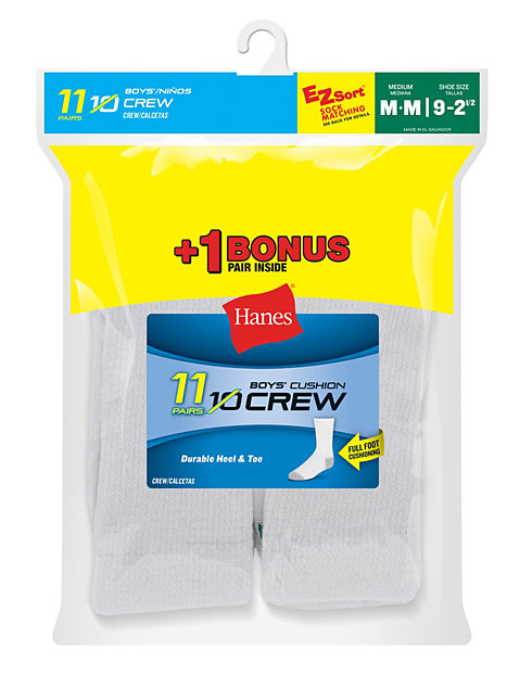 Hanes EZ-Sort® Boys' Crew Socks 11-Pack (Includes 1 Free Bonus Pair)