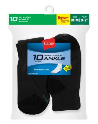 Hanes Boys' Ankle  EZ Sort® Socks 10-Pk