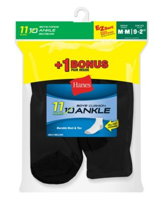 Hanes EZ-Sort® Boys' Ankle Socks 11-Pack (Includes 1 Free Bonus Pair)