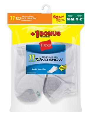 Hanes EZ-Sort® Boys' No-Show Socks 11-Pack (Includes 1 Free Bonus Pair)
