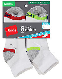Hanes ComfortBlend® Boys' Ankle Socks 6-Pack