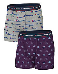 Champion Life™ Men's Printed Logo Boxer Brief, 2-Pack