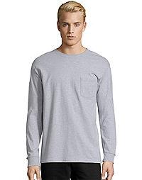 Hanes Mens Long Sleeve T Shirt With Pocket