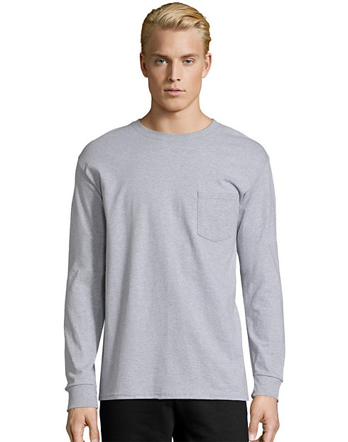 8bc340f9cbe2 Hanes Men s TAGLESS Long-Sleeve T-Shirt with Pocket