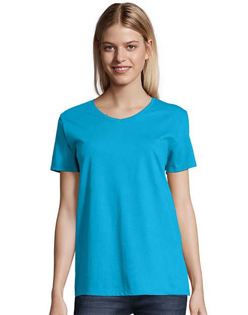 Hanes Women's Relaxed Fit TAGLESS® ComfortSoft® V-Neck T-Shirt