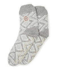 Dearfoams Women's Fairisle Knit Flurry Slipper Sock