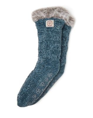 Dearfoams Women's Chenille Knit Blizzard Slipper Sock