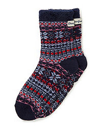 Dearfoams Women's Fairisle Knit Cabin Slipper Sock