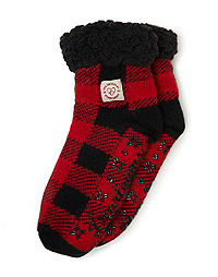 Dearfoams Women's Fairisle or Plaid Knit Cozy Slipper Sock