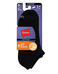Hanes Women's Athletic No-Show Socks 6-Pack