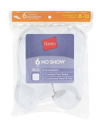 Hanes Women's Cool Comfort® No Show Socks Extended Sizes 8-12, 6-Pack