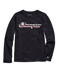 Champion Girls' Long-Sleeve Tee, Retro Logo