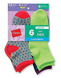 Hanes Girls' Fashion ComfortBlend® Ankle Socks 6-Pack