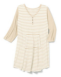 Hanes Women's Plus Striped Sleepshirt