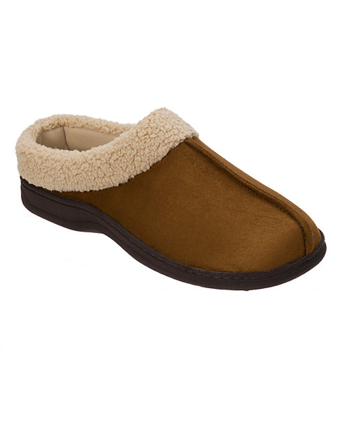 Men's Dearfoam Suede Clog with Faux Shearling Cuff