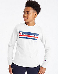 Champion Youth Long-Sleeve Tee, Colorblocked Logo