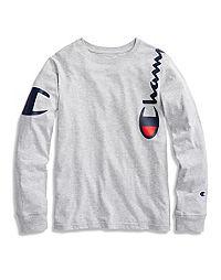 Champion Life® Youth Heritage Long-Sleeve,  Wrap Around Logo Tee